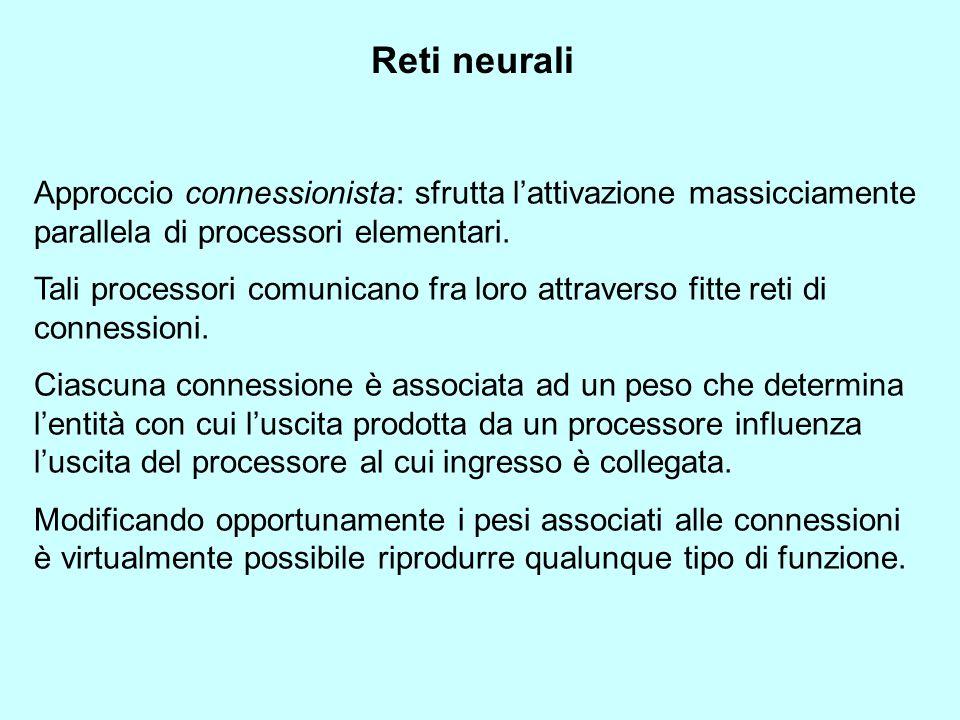 Reti neurali Approccio connessionista: sfrutta lattivazione massicciamente parallela di processori elementari. Tali processori comunicano fra loro att