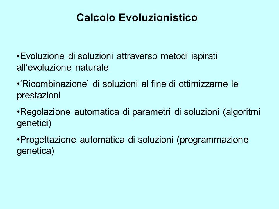 Calcolo Evoluzionistico Evoluzione di soluzioni attraverso metodi ispirati allevoluzione naturale Ricombinazione di soluzioni al fine di ottimizzarne