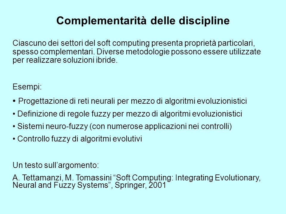 Complementarità delle discipline Ciascuno dei settori del soft computing presenta proprietà particolari, spesso complementari. Diverse metodologie pos