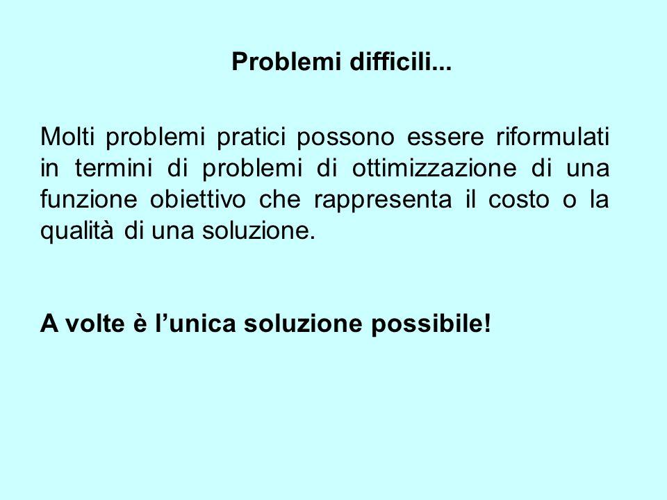 Molti problemi pratici possono essere riformulati in termini di problemi di ottimizzazione di una funzione obiettivo che rappresenta il costo o la qua