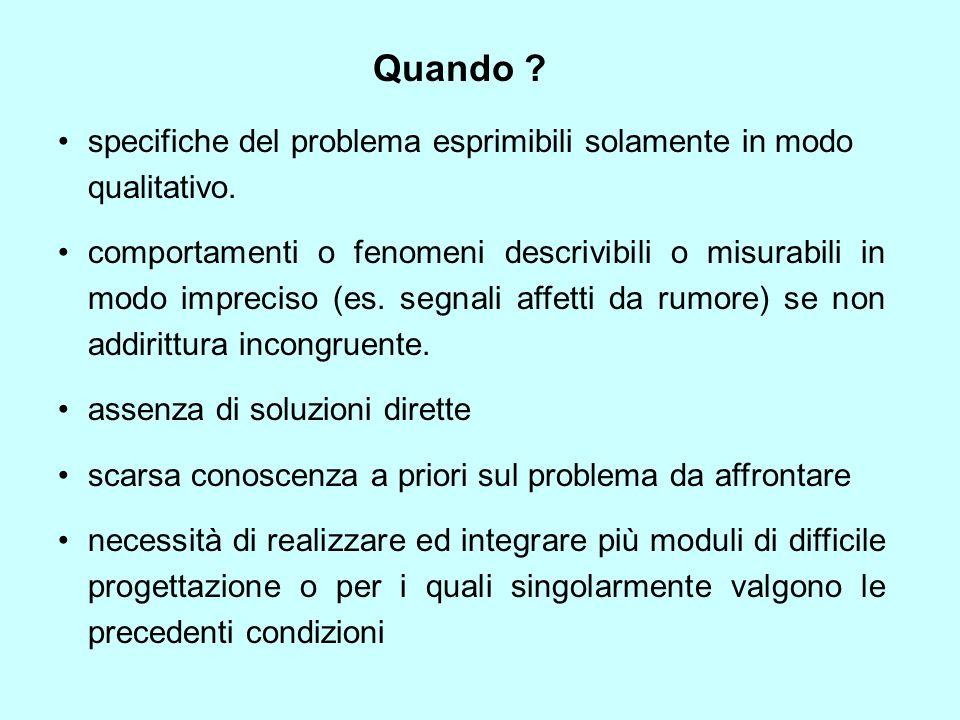 specifiche del problema esprimibili solamente in modo qualitativo. comportamenti o fenomeni descrivibili o misurabili in modo impreciso (es. segnali a