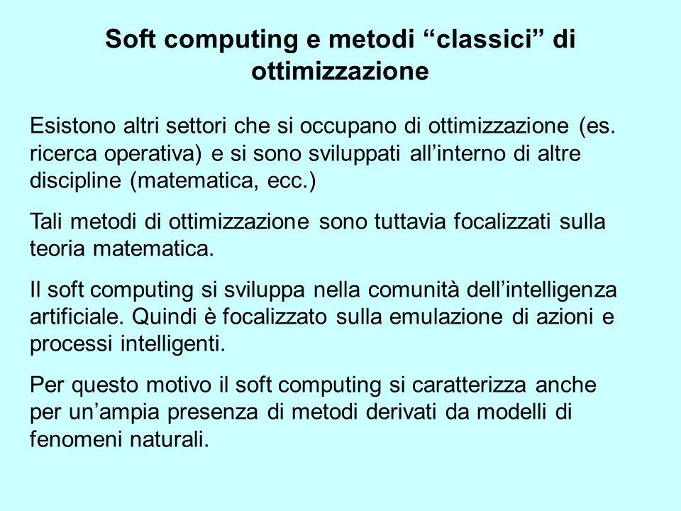 Soft computing e metodi classici di ottimizzazione Esistono altri settori che si occupano di ottimizzazione (es. ricerca operativa) e si sono sviluppa