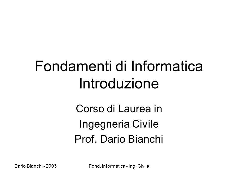 Dario Bianchi - 2003Fond.Informatica - Ing. Civile Cosa e l informatica .