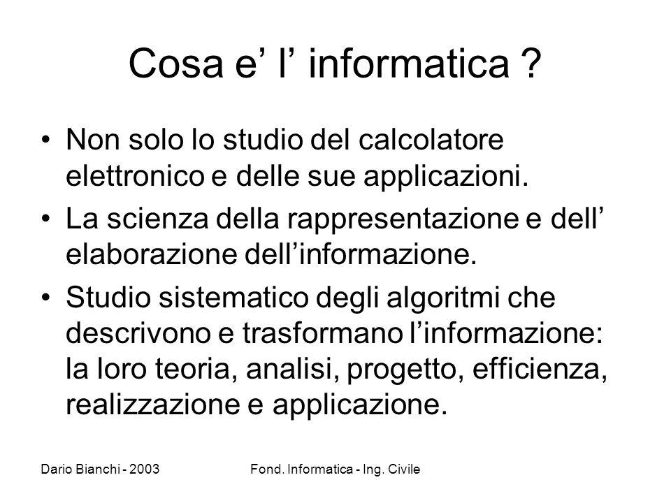 Dario Bianchi - 2003Fond. Informatica - Ing. Civile Cosa e l informatica .