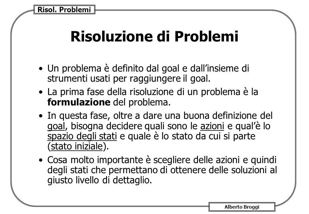 Risol. Problemi Alberto Broggi Risoluzione di Problemi Un problema è definito dal goal e dallinsieme di strumenti usati per raggiungere il goal. La pr