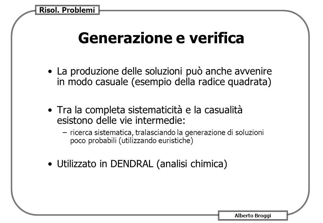 Risol. Problemi Alberto Broggi Generazione e verifica La produzione delle soluzioni può anche avvenire in modo casuale (esempio della radice quadrata)