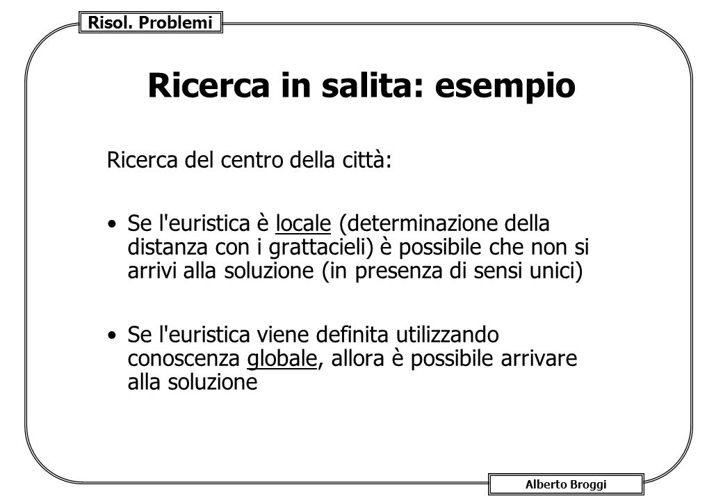 Risol. Problemi Alberto Broggi Ricerca in salita: esempio Ricerca del centro della città: Se l'euristica è locale (determinazione della distanza con i