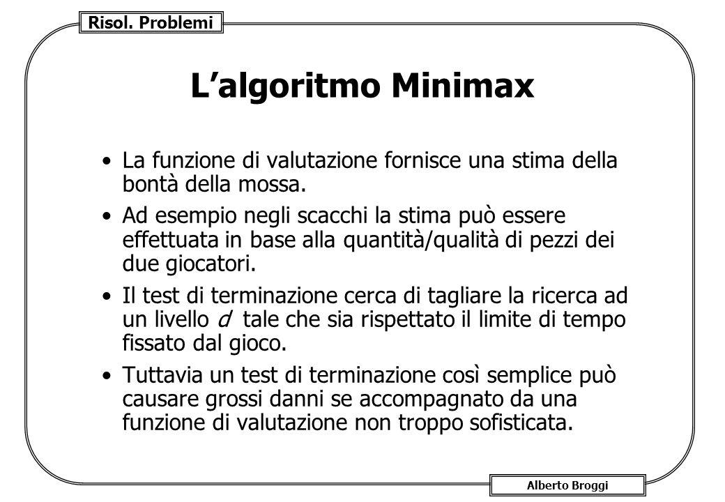 Risol. Problemi Alberto Broggi Lalgoritmo Minimax La funzione di valutazione fornisce una stima della bontà della mossa. Ad esempio negli scacchi la s