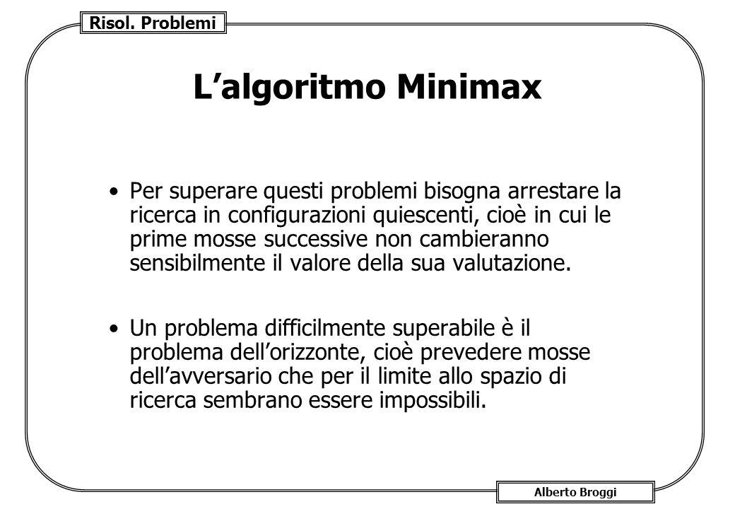 Risol. Problemi Alberto Broggi Lalgoritmo Minimax Per superare questi problemi bisogna arrestare la ricerca in configurazioni quiescenti, cioè in cui
