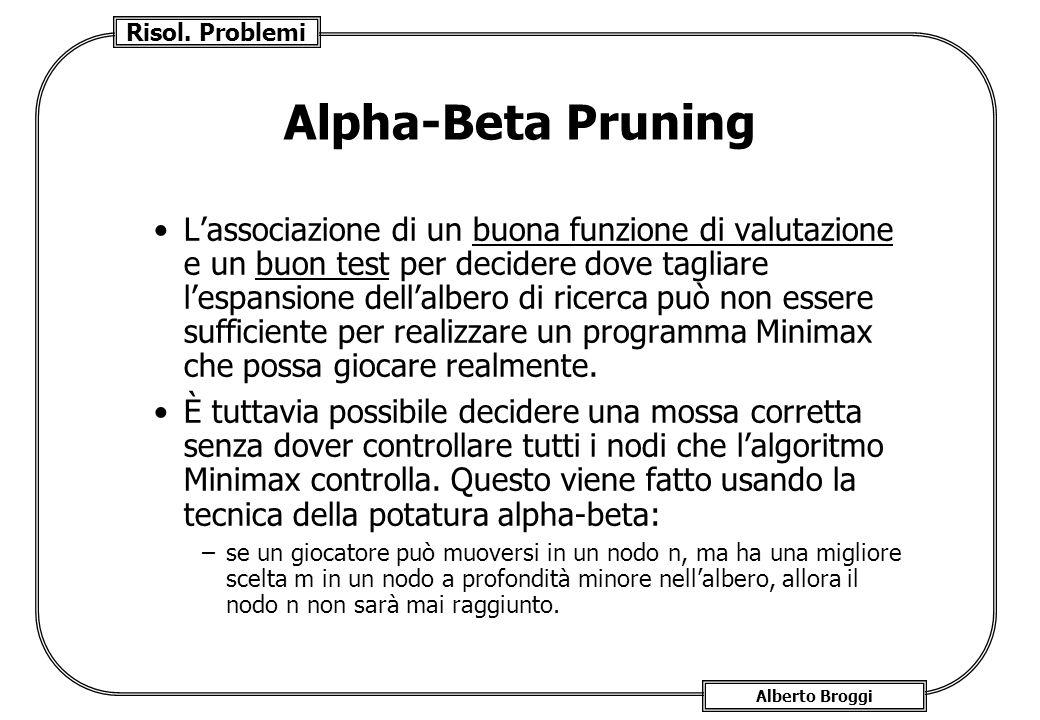 Risol. Problemi Alberto Broggi Alpha-Beta Pruning Lassociazione di un buona funzione di valutazione e un buon test per decidere dove tagliare lespansi