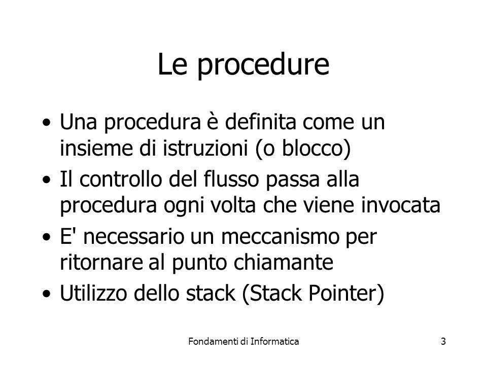 Fondamenti di Informatica3 Le procedure Una procedura è definita come un insieme di istruzioni (o blocco) Il controllo del flusso passa alla procedura ogni volta che viene invocata E necessario un meccanismo per ritornare al punto chiamante Utilizzo dello stack (Stack Pointer)