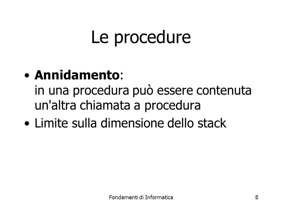 Fondamenti di Informatica9 Le procedure Ricorsione: all interno di una procedura avviene una chiamata alla procedura stessa Limite sulla dimensione dello stack Molti algoritmi sono basati sulla ricorsione