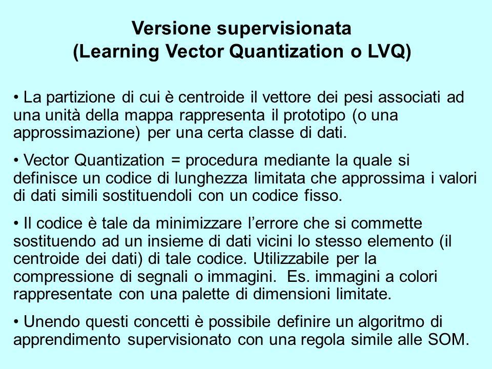 Versione supervisionata (Learning Vector Quantization o LVQ) La partizione di cui è centroide il vettore dei pesi associati ad una unità della mappa r