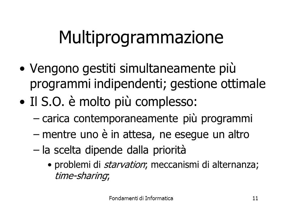 Fondamenti di Informatica11 Multiprogrammazione Vengono gestiti simultaneamente più programmi indipendenti; gestione ottimale Il S.O.