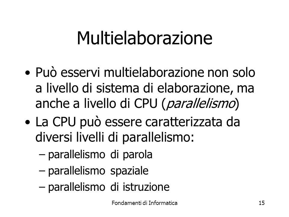 Fondamenti di Informatica15 Multielaborazione Può esservi multielaborazione non solo a livello di sistema di elaborazione, ma anche a livello di CPU (parallelismo) La CPU può essere caratterizzata da diversi livelli di parallelismo: –parallelismo di parola –parallelismo spaziale –parallelismo di istruzione