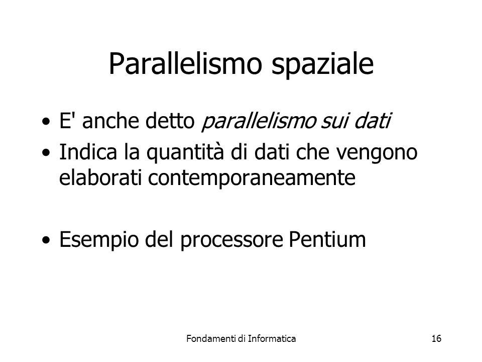 Fondamenti di Informatica16 Parallelismo spaziale E anche detto parallelismo sui dati Indica la quantità di dati che vengono elaborati contemporaneamente Esempio del processore Pentium