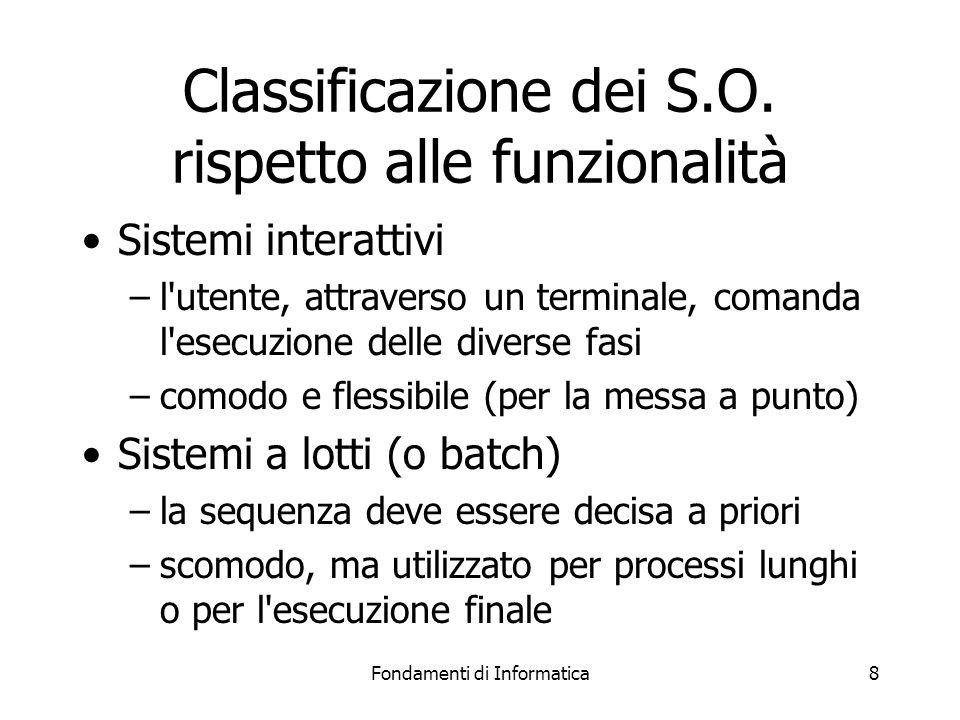 Fondamenti di Informatica8 Classificazione dei S.O.