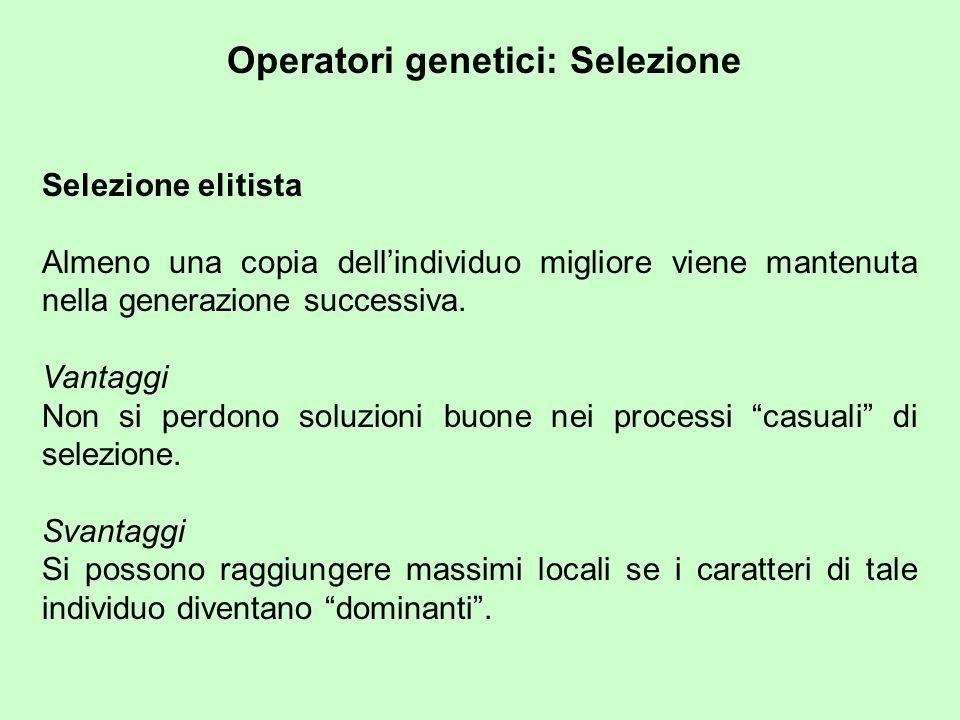 Operatori genetici: Selezione Selezione elitista Almeno una copia dellindividuo migliore viene mantenuta nella generazione successiva.