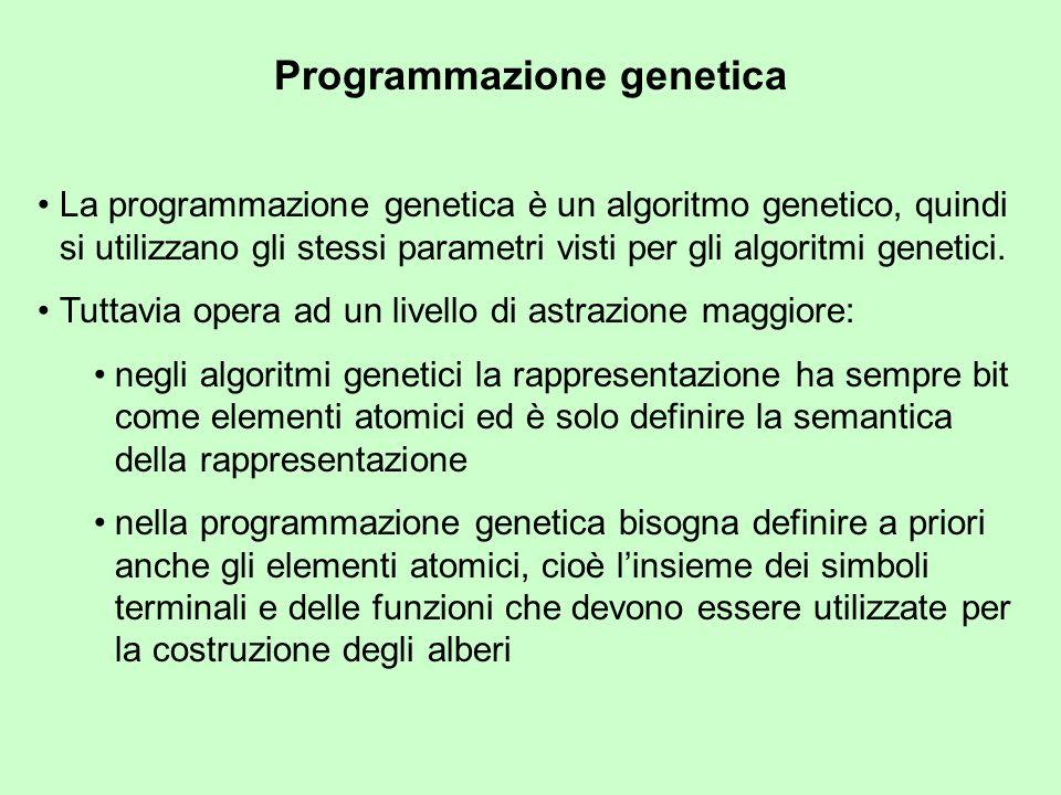 Programmazione genetica La programmazione genetica è un algoritmo genetico, quindi si utilizzano gli stessi parametri visti per gli algoritmi genetici.
