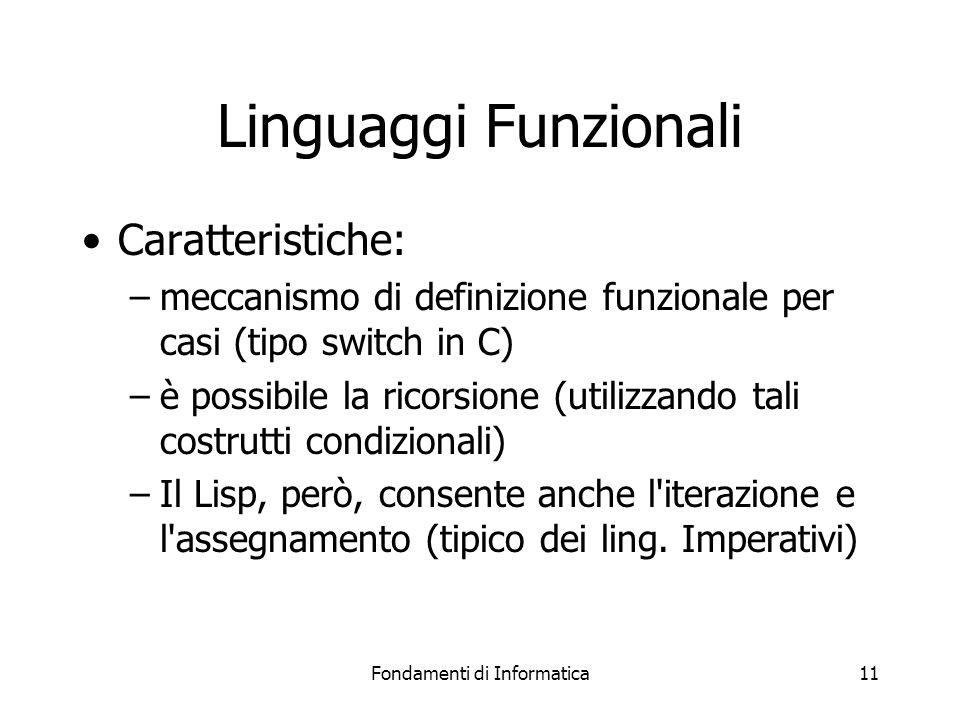 Fondamenti di Informatica11 Linguaggi Funzionali Caratteristiche: –meccanismo di definizione funzionale per casi (tipo switch in C) –è possibile la ricorsione (utilizzando tali costrutti condizionali) –Il Lisp, però, consente anche l iterazione e l assegnamento (tipico dei ling.