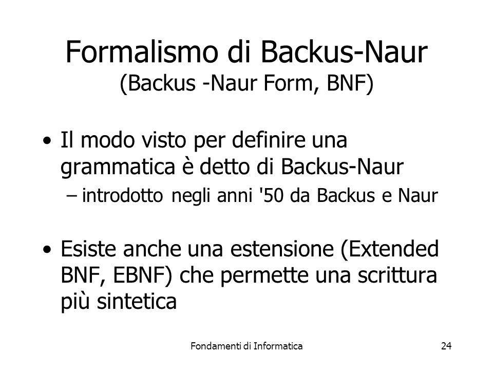 Fondamenti di Informatica24 Formalismo di Backus-Naur (Backus -Naur Form, BNF) Il modo visto per definire una grammatica è detto di Backus-Naur –introdotto negli anni 50 da Backus e Naur Esiste anche una estensione (Extended BNF, EBNF) che permette una scrittura più sintetica