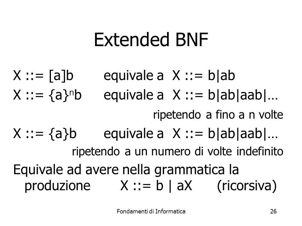 Fondamenti di Informatica26 Extended BNF X ::= [a]b equivale a X ::= b|ab X ::= {a} n bequivale a X ::= b|ab|aab|… ripetendo a fino a n volte X ::= {a}bequivale a X ::= b|ab|aab|… ripetendo a un numero di volte indefinito Equivale ad avere nella grammatica la produzione X ::= b | aX (ricorsiva)