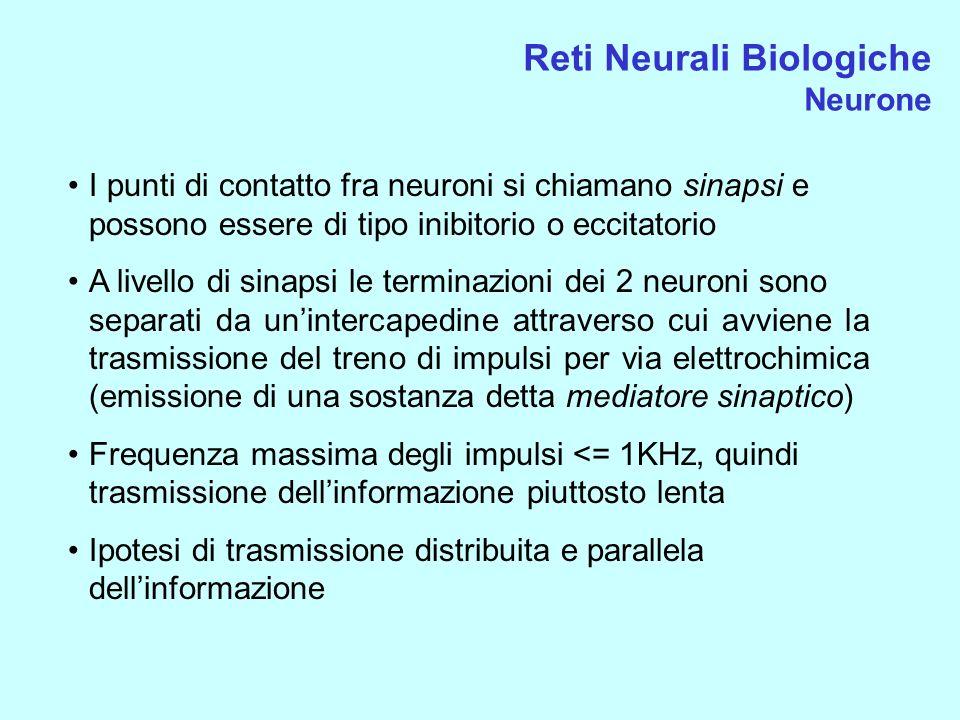 Reti Neurali Biologiche Neurone I punti di contatto fra neuroni si chiamano sinapsi e possono essere di tipo inibitorio o eccitatorio A livello di sin