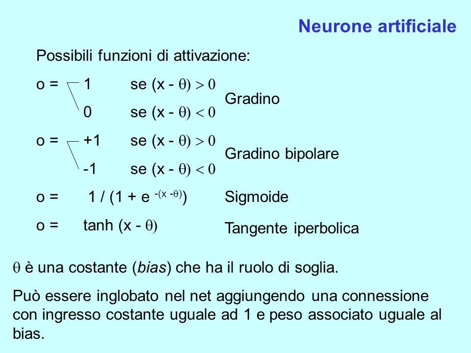 Neurone artificiale Possibili funzioni di attivazione: o = 1 se (x - 0 se (x - o =+1se (x - -1 se (x - o = 1 / (1 + e -(x - ) ) o = tanh (x - Gradino