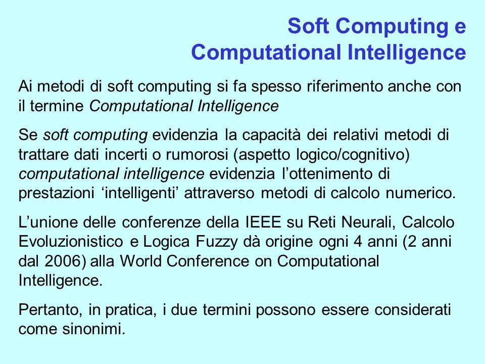 Soft Computing e Computational Intelligence Ai metodi di soft computing si fa spesso riferimento anche con il termine Computational Intelligence Se so