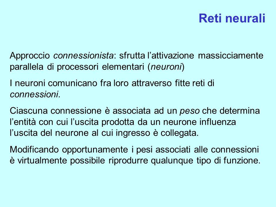 Reti neurali Approccio connessionista: sfrutta lattivazione massicciamente parallela di processori elementari (neuroni) I neuroni comunicano fra loro