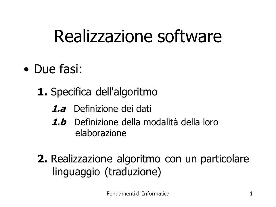 Fondamenti di Informatica1 Realizzazione software Due fasi: 1.