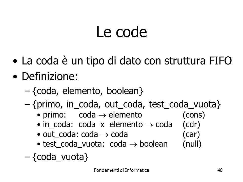 Fondamenti di Informatica40 Le code La coda è un tipo di dato con struttura FIFO Definizione: –{coda, elemento, boolean} –{primo, in_coda, out_coda, test_coda_vuota} primo: coda elemento(cons) in_coda: coda x elemento coda(cdr) out_coda: coda coda(car) test_coda_vuota: coda boolean(null) –{coda_vuota}