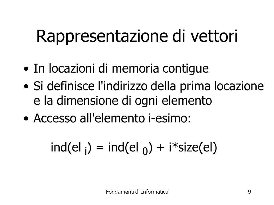 Fondamenti di Informatica9 Rappresentazione di vettori In locazioni di memoria contigue Si definisce l indirizzo della prima locazione e la dimensione di ogni elemento Accesso all elemento i-esimo: ind(el i ) = ind(el 0 ) + i*size(el)
