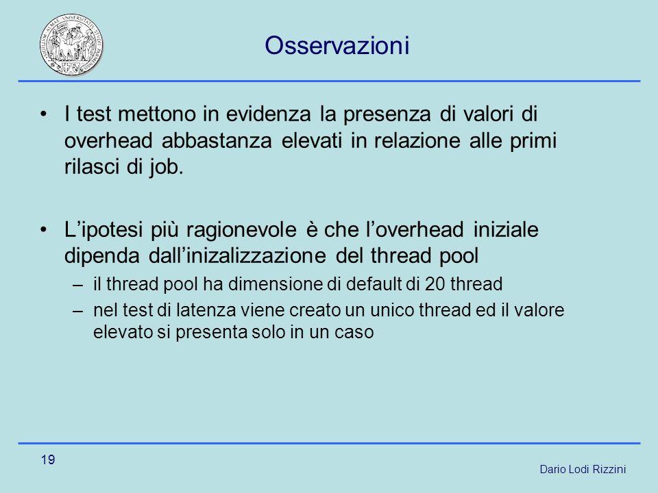 Dario Lodi Rizzini 19 Osservazioni I test mettono in evidenza la presenza di valori di overhead abbastanza elevati in relazione alle primi rilasci di job.