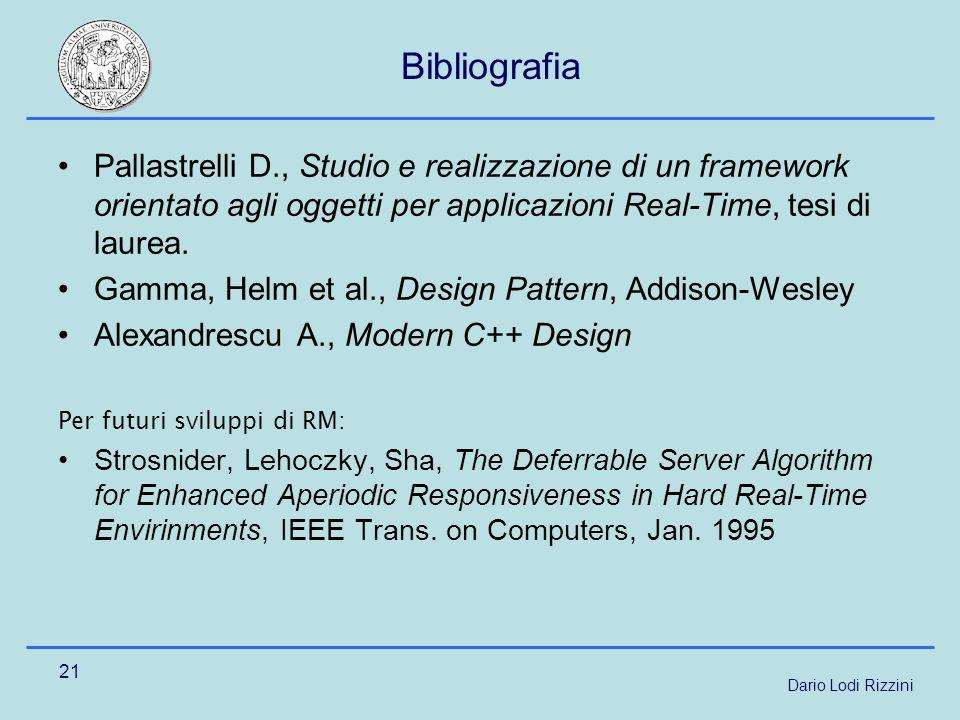 Dario Lodi Rizzini 21 Bibliografia Pallastrelli D., Studio e realizzazione di un framework orientato agli oggetti per applicazioni Real-Time, tesi di laurea.