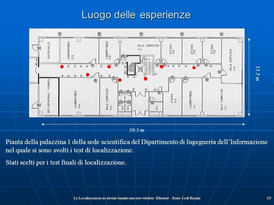 La Localizzazione in interni tramite una rete wireless Ethernet - Dario Lodi Rizzini10 Luogo delle esperienze Pianta della palazzina 1 della sede scie