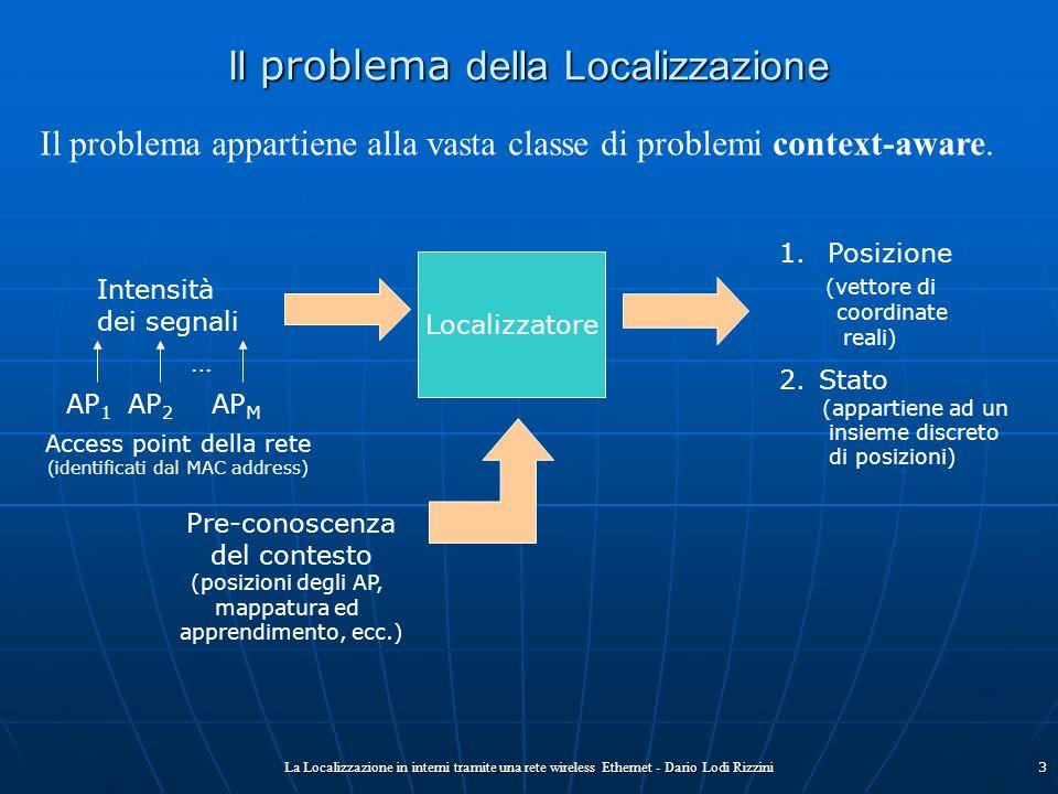 La Localizzazione in interni tramite una rete wireless Ethernet - Dario Lodi Rizzini3 Il problema della Localizzazione Il problema appartiene alla vas