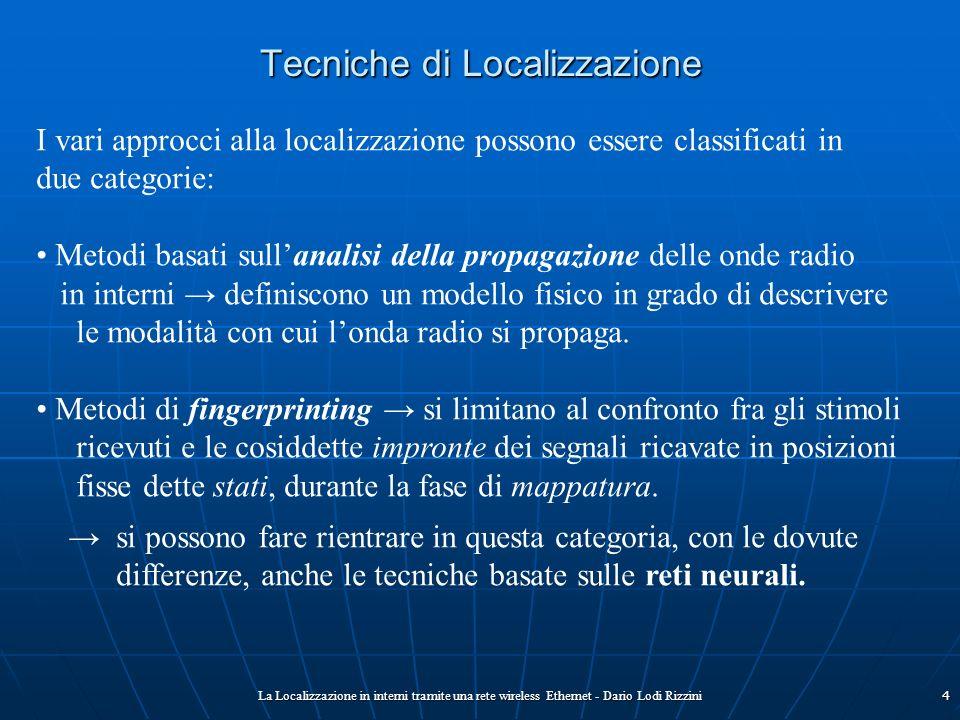 La Localizzazione in interni tramite una rete wireless Ethernet - Dario Lodi Rizzini4 Tecniche di Localizzazione I vari approcci alla localizzazione p
