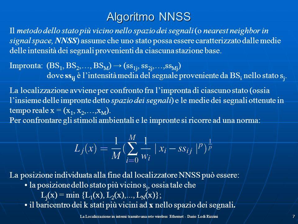 La Localizzazione in interni tramite una rete wireless Ethernet - Dario Lodi Rizzini7 Algoritmo NNSS Il metodo dello stato più vicino nello spazio dei