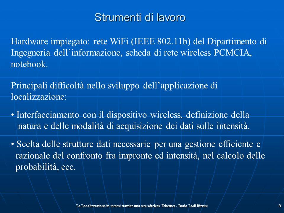 La Localizzazione in interni tramite una rete wireless Ethernet - Dario Lodi Rizzini9 Strumenti di lavoro Hardware impiegato: rete WiFi (IEEE 802.11b)