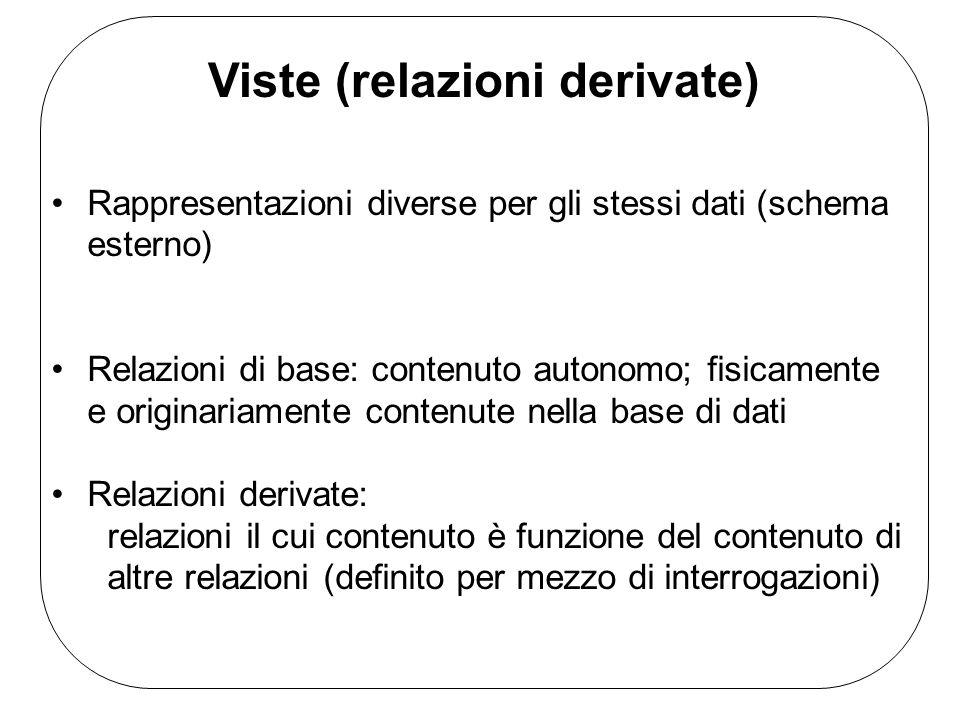 Viste (relazioni derivate) Rappresentazioni diverse per gli stessi dati (schema esterno) Relazioni di base: contenuto autonomo; fisicamente e originar