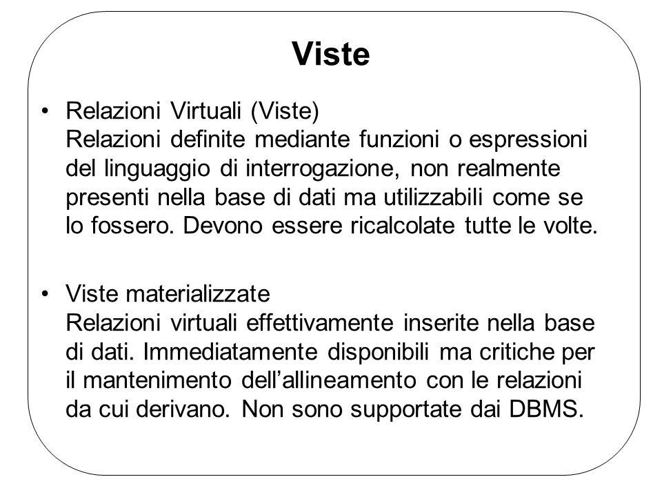 Viste Relazioni Virtuali (Viste) Relazioni definite mediante funzioni o espressioni del linguaggio di interrogazione, non realmente presenti nella base di dati ma utilizzabili come se lo fossero.