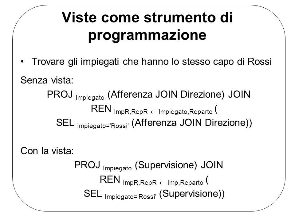 Viste come strumento di programmazione Trovare gli impiegati che hanno lo stesso capo di Rossi Senza vista: PROJ Impiegato (Afferenza JOIN Direzione)