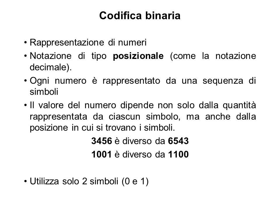 Codifica binaria Rappresentazione di numeri Notazione di tipo posizionale (come la notazione decimale). Ogni numero è rappresentato da una sequenza di