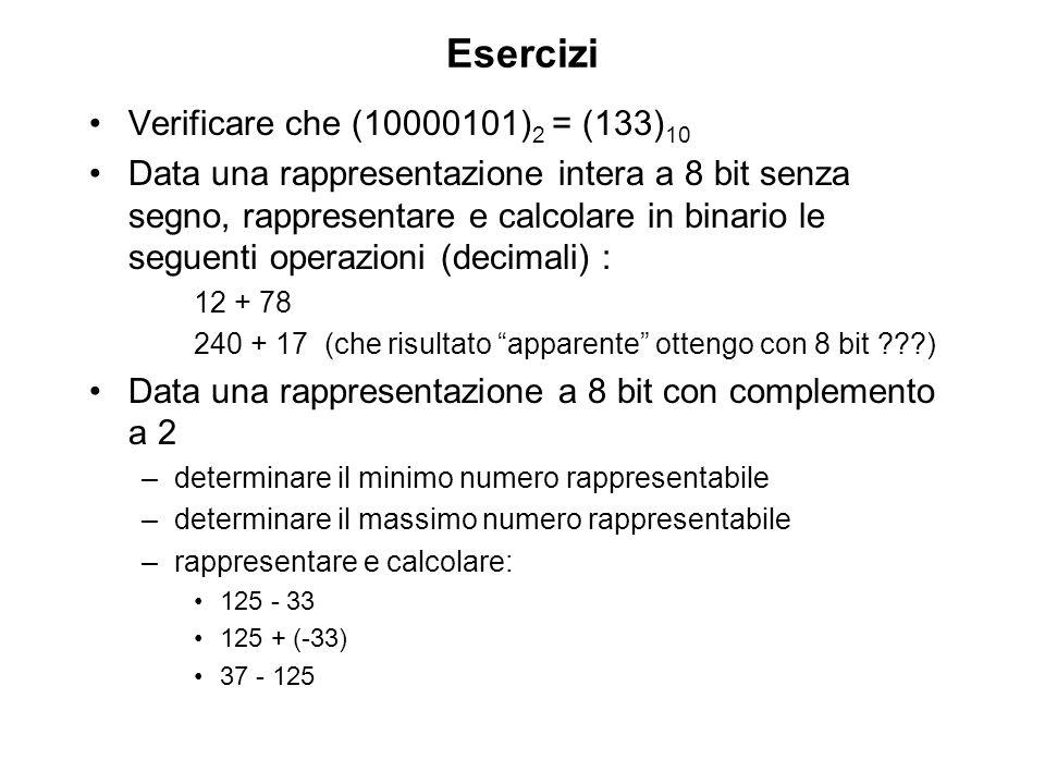 Esercizi Verificare che (10000101) 2 = (133) 10 Data una rappresentazione intera a 8 bit senza segno, rappresentare e calcolare in binario le seguenti