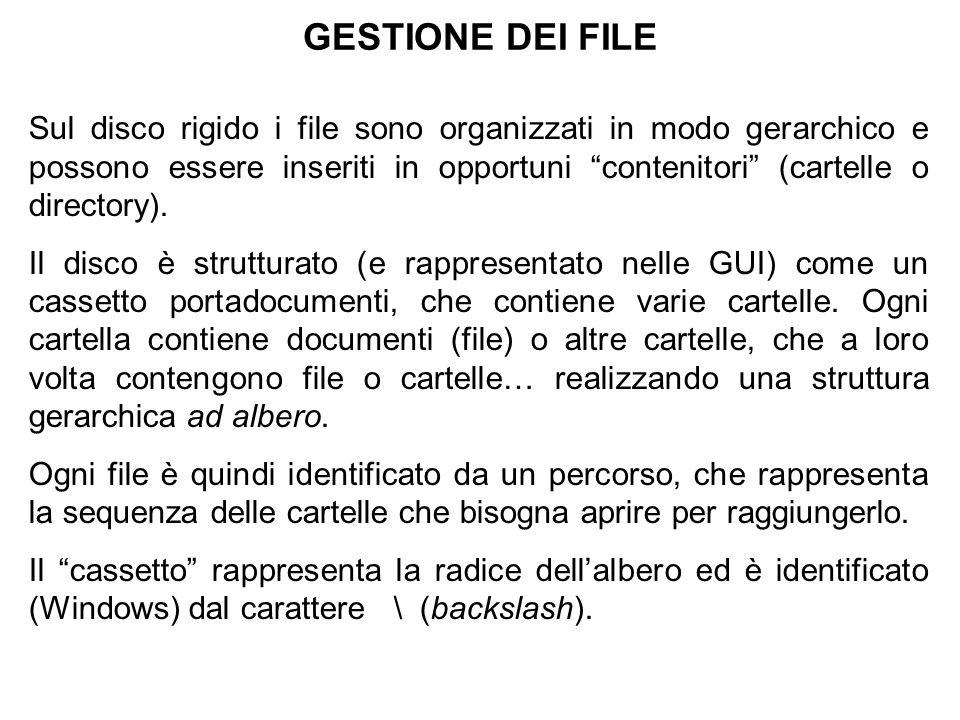 GESTIONE DEI FILE Sul disco rigido i file sono organizzati in modo gerarchico e possono essere inseriti in opportuni contenitori (cartelle o directory).