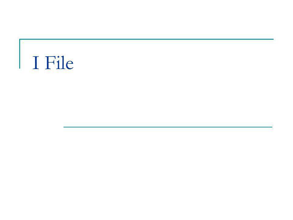 Il linguaggio C 2 I File normalmente con la parola file (o archivio) si intende un insieme di informazioni logicamente correlate, memorizzate su memoria di massa le operazioni tipiche che si possono eseguire su di un file sono: lettura di dati in memoria scrittura (aggiornamento o aggiunta) di dati dalla memoria file memoria lettura scrittura