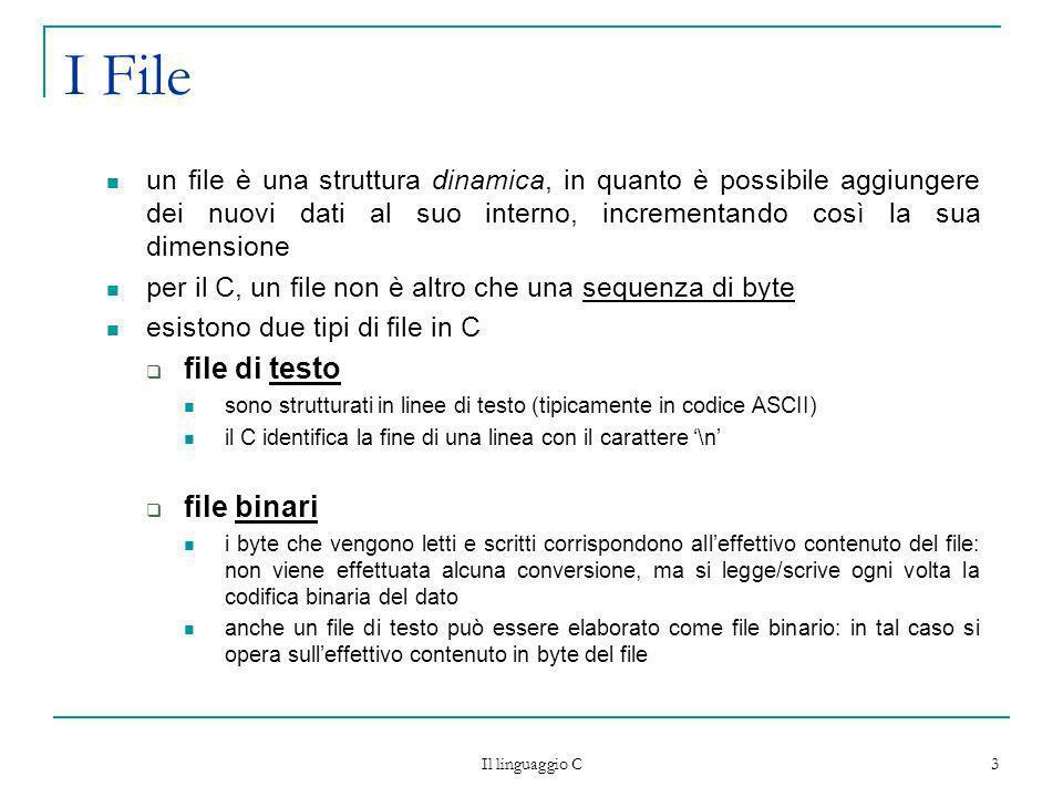 Il linguaggio C 14 File di Testo per scrivere un carattere in un file (di testo o binario), si utilizza la funzione: int fputc(int carattere, FILE* puntatore); scrive un carattere nella posizione corrente del file ritorna il carattere scritto, in caso di successo, EOF in caso di errore qualora si scriva il carattere di codice \n in un file di testo, si ha leffetto di chiudere la linea corrente del file