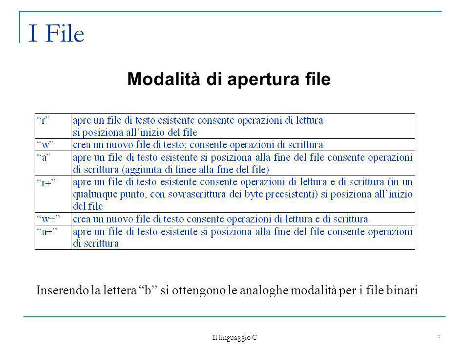 Il linguaggio C 8 I File Alla fine dellelaborazione di un file occorre effettuare loperazione di chiusura int fclose (FILE* puntatore) libera la struttura di dati abbinata al file in caso di scrittura, garantisce che tutti i dati scritti sul file, siano effettivamente trasferiti su disco ritorna 0 se conclusa correttamente comunque, alla terminazione di un programma C, il programma stesso provvede a chiudere tutti gli eventuali file ancora aperti (ma non ne garantisce la corretta scrittura)