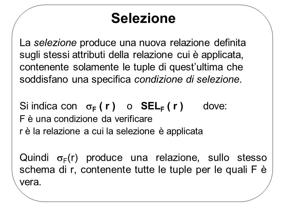 Selezione La selezione produce una nuova relazione definita sugli stessi attributi della relazione cui è applicata, contenente solamente le tuple di questultima che soddisfano una specifica condizione di selezione.